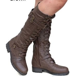 Shoes - New Brown Combat Military Lace Up Knee High Riding